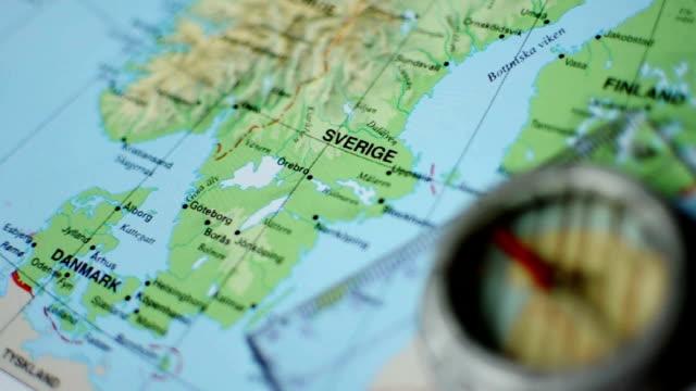 map of sweden with compass - sweden map bildbanksvideor och videomaterial från bakom kulisserna