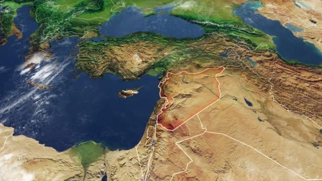 vídeos de stock, filmes e b-roll de mapa da síria e fronteiras, mapa físico oriente médio, península arábica, mapa com relevos, montanhas e mar mediterrâneo - relevo