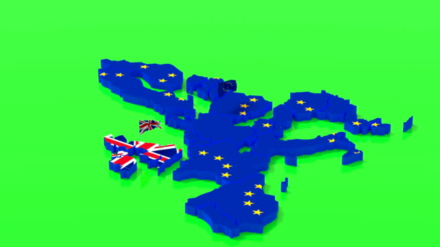 karte der europäischen union und großbritanniens mit staatsflaggen, alpha-kanal, hromakey - europa kontinent stock-videos und b-roll-filmmaterial