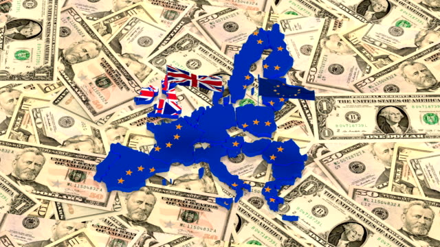Map of the European Union and the UK with state flags on the background of American dollars