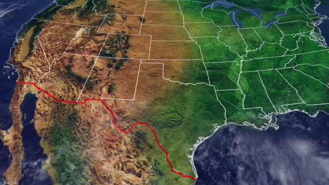 map of usa and border with mexico, us map with reliefs and mountains of north america with wall dividing the us border from mexico - usa map stock videos and b-roll footage
