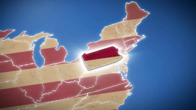 usa karte, pennsylvania, ziehen sie alle staaten verfügbar - pennsylvania stock-videos und b-roll-filmmaterial