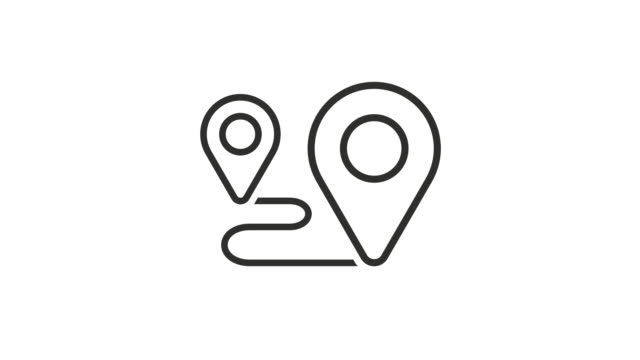 Map Pin Icons Route - Vector Animation stock video