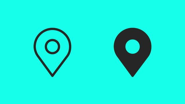 vidéos et rushes de animent des icônes de carte pin - vecteur - contour