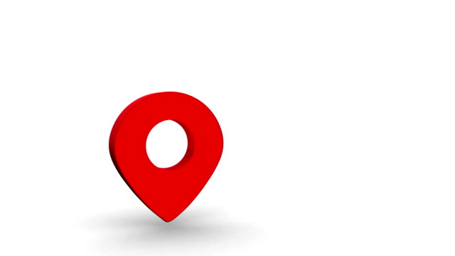 Map Point sign in red color fall and rotate on white background and empty space on right side. 3D render video