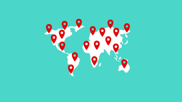 Map Pointer symbol full pin world map on green background, looping animation 4K video