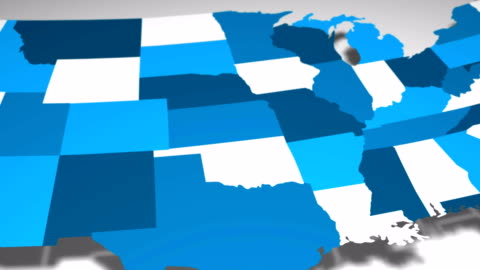 USA Map Reveal Blue and White Animation USA Map Reveal Blue and White Animation famous place stock videos & royalty-free footage