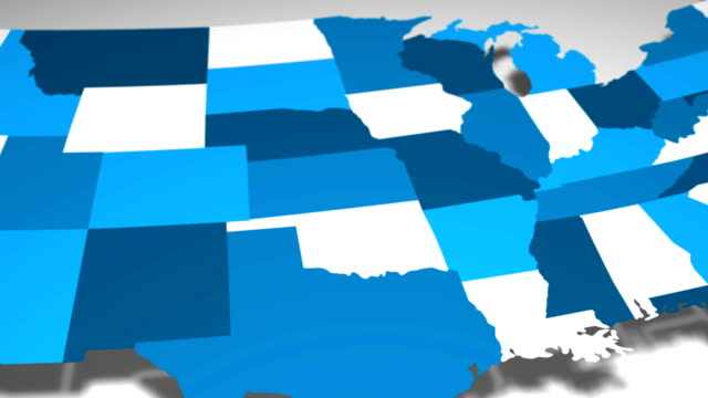 USA Map Reveal Blue and White Animation video