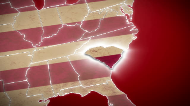USA map, South Carolina pull out, all states available. Red video