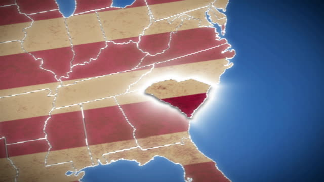 USA map, South Carolina pull out, all states available video