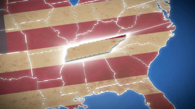 USA map, Tennessee pull out, all states available video