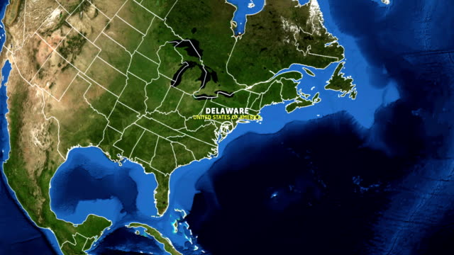 DELAWARE Map USA - Earth Zoom video