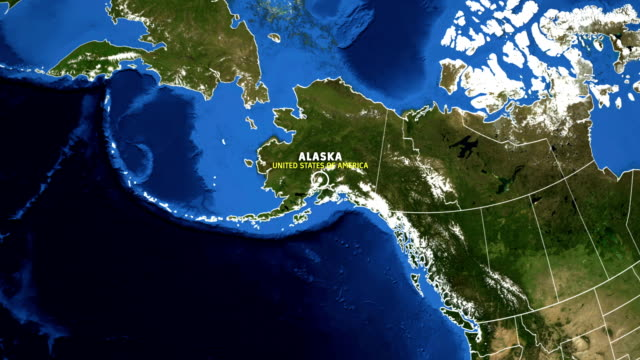 alaska map usa - earth zoom - alaska stato usa video stock e b–roll