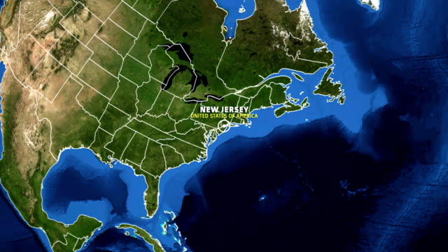 NEW JERSEY Map USA - Earth Zoom video