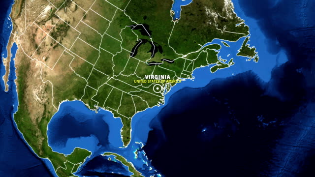 VIRGINIA Map USA - Earth Zoom video