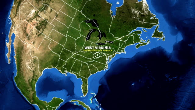 WEST VIRGINIA Map USA - Earth Zoom video