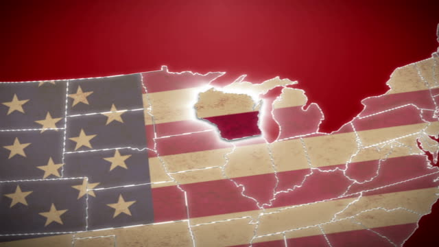 USA map, Wisconsin pull out, all states available. Red video