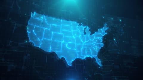 vídeos y material grabado en eventos de stock de mapa de ee.uu. con estados contra fondo animado azul 4k uhd - cultura estadounidense