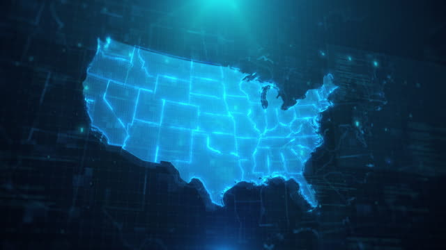 USA map with states against blue animated background 4k UHD - video
