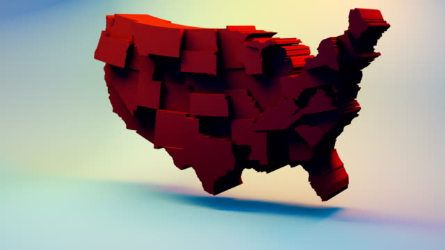 usa map with states, red color, republican - 2016 video stock e b–roll