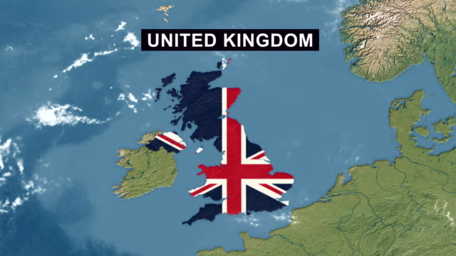 UK Map with UK Flag, zoom in to UK terrain map from wide perspective view Terrain map from wide perspective view uk border stock videos & royalty-free footage