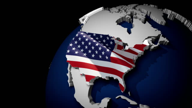 USA Map with USA Flag, zoom in to USA terrain map, Waving flag of the United States of America overlaid on detailed outline map isolated 4K video