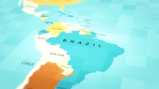 vídeos de stock, filmes e b-roll de mapa, mapa do mundo, brasil - brazil map