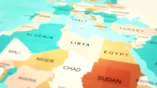 animazione mappe 4k. mappa del mondo. (libia) - libia video stock e b–roll