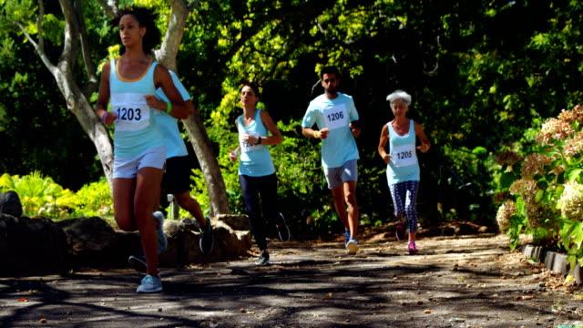 Marathon athletes running in the park 4k video