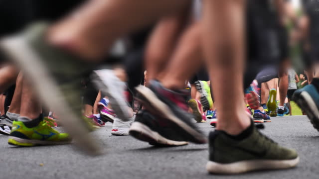 marathon runners feet - race stock videos & royalty-free footage