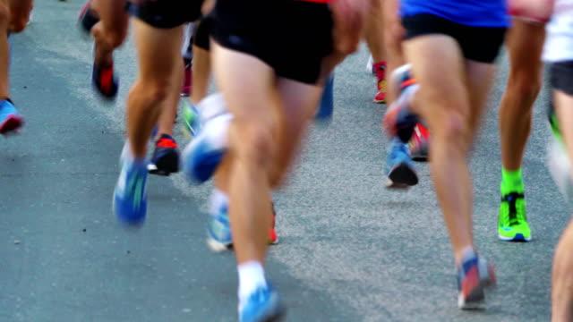 Marathon runners in 4K slow motion 60fps