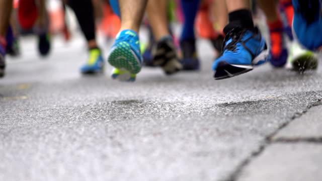Marathon runners in slow motion