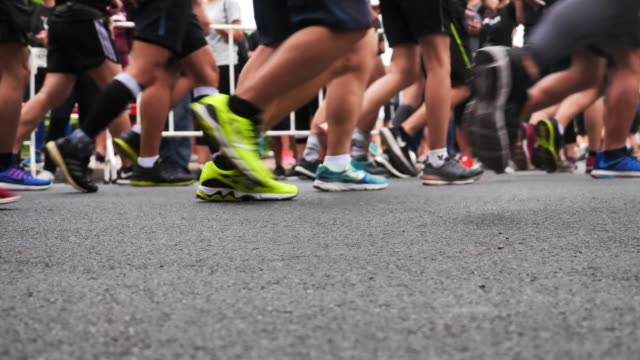 Marathon runners in slow motion video