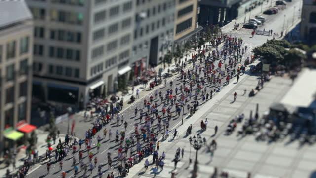 marathon running with Tilt Shift Effect video