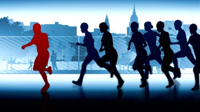 marathon through the city. man vs.womens. - tävlingsdistans bildbanksvideor och videomaterial från bakom kulisserna