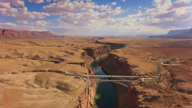 AERIAL Marble Canyon and the Navajo Bridge, AZ, USA