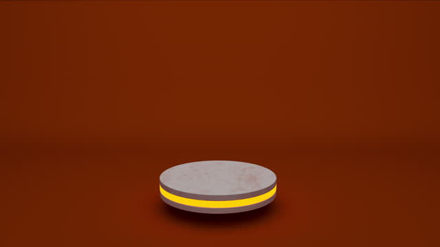 vídeos de stock e filmes b-roll de marble product stand futuristic or podium pedestal on empty display growing flashing light with orange backdrops. 3d rendering. seamless loop. - madeira material