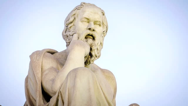 marble statue of the ancient greek philosopher socrates - greek architecture stock videos & royalty-free footage