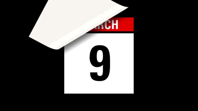 March month calendar HD video