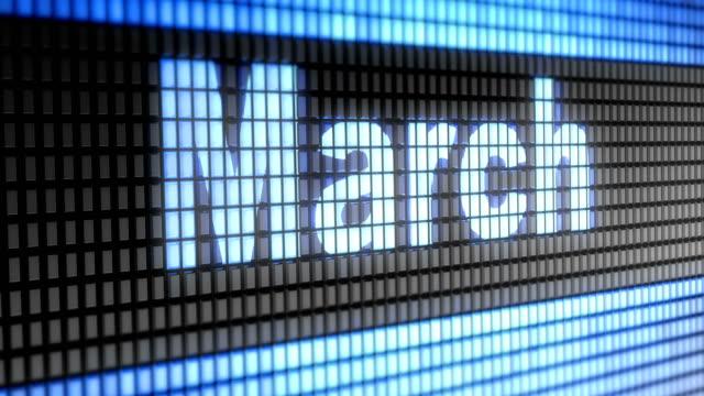"""""""marsch"""" auf dem bildschirm. 4k auflösung. looping. - kalender icon stock-videos und b-roll-filmmaterial"""