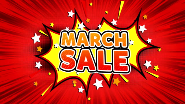 March Sale Text Pop Art Style Comic Expression.