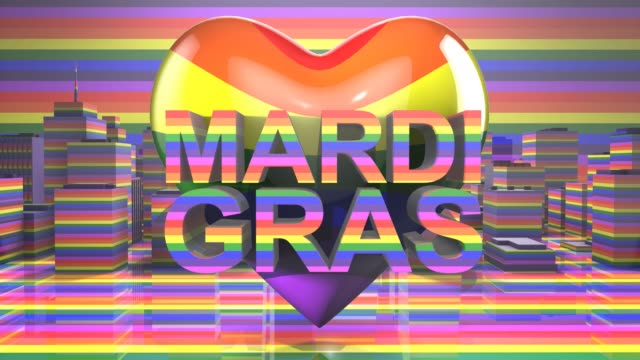Mardi Gras Gay Pride LGBT Community graphic title 3D render LGBTQIA+ Community Gay Pride LGBT Mardi Gras graphic title 3D render. The letters LGBT & LGBTQIA refer to lesbian, gay, bisexual, transgender, queer or questioning, intersex, and asexual or allied. cisgender stock videos & royalty-free footage