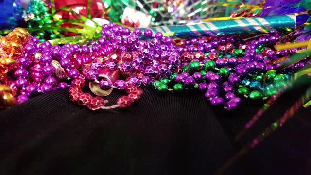Mardi Gras, Rio carnival mask and colorful decorations.