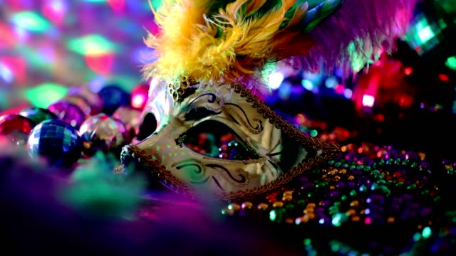 Mardi Gras, Rio carnival mask and colorful decorations. video