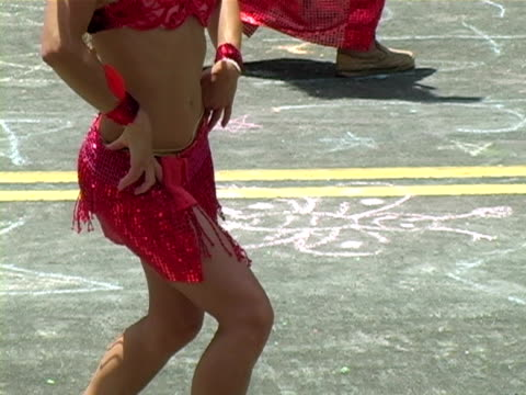 Mardi Gras Sexy samba dancers performing in a parade. mardi gras stock videos & royalty-free footage