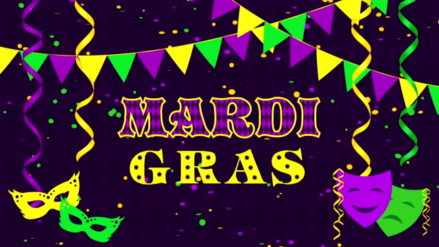 Mardi Gras with masks and confetti video