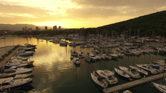 AERIAL Marina and city on the coast video