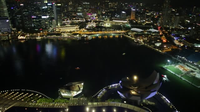 Marina bay Singapore Panorama Wide panorama at night of Singapore Marina Bay with illuminated skyscrapers of the financial district in the downtown of the city. Singapore cityscape aerial view. southeast stock videos & royalty-free footage