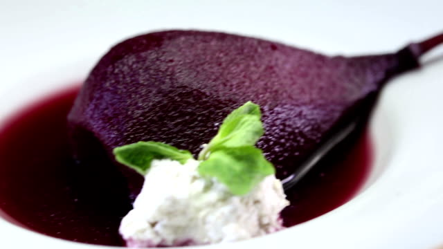 Marinated poached pear Dessert video