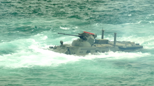 marine infantry fighting vehicle at sea - anfibio video stock e b–roll
